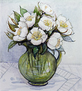 Table Cloth Painting Prints - Christmas Roses Print by Gillian Lawson