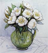 Christmas Roses Print by Gillian Lawson