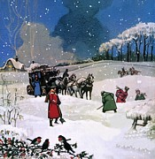 Falling Snow Posters - Christmas Scene Poster by English School