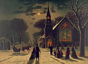 Parishioners Prints - Christmas Service 1878 Print by Padre Art