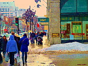 Urban Winter Scenes Framed Prints - Christmas Shoppers Ogilvys Enchanted Village Window Display A Montreal Xmas Tradition Carole Spandau Framed Print by Carole Spandau