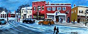 Concord Painting Prints - Christmas Shopping in Concord Center Print by Rita Brown