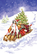 Snow Dog Mixed Media Posters - Christmas Sleigh Ride Dog and Cat Poster by Caroline Stanko