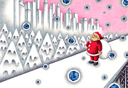 Christmas Eve Drawings Metal Prints - Christmas Snow Country Metal Print by T Koni