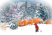 Snow-covered Landscape Digital Art Posters - Christmas Snow Poster by Mary Timman