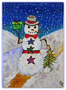 Frosty Mixed Media Posters - Christmas Snowman with Gifts of Love Poster by Ella Kaye