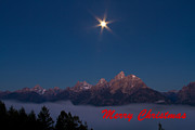 Christmas Greeting Photo Framed Prints - Christmas Star over the Tetons Framed Print by James Futterer