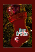 Wishes Mixed Media Posters - Christmas Stocking Card Poster by Debra     Vatalaro