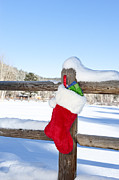 Stuffers Prints - Christmas Stocking on Fence Print by Joe Belanger