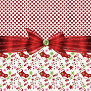 Red Bow Prints - Christmas Stockings Print by Debra  Miller