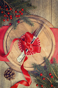 Ribbon Posters - Christmas Table Setting Poster by Christopher and Amanda Elwell