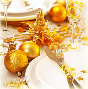Banquet Photos - Christmas table setting still life by Anna Omelchenko