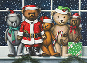 Teddy Paintings - Christmas Teddies by Lynn Bywaters