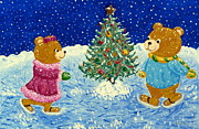 Skating Paintings - Christmas Teddies by Maria Malevannaya