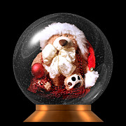 Terri Waters Prints - Christmas Teddy Snow Globe Print by Terri  Waters