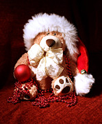 Terri Waters Posters - Christmas Teddy Poster by Terri  Waters