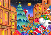 Christmas Eve Drawings Metal Prints - Christmas toy of our Metal Print by T Koni