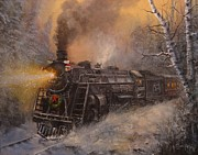 Falling Snow Posters - Christmas Train in Wisconsin Poster by Tom Shropshire