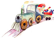 Santa Claus Paintings - Christmas train with Santa Claus by Regina Jershova