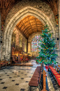 Cathedral Window Prints - Christmas Tree Print by Adrian Evans