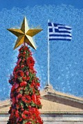 Star Posters - Christmas tree and Greek flag Poster by George Atsametakis