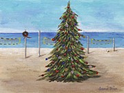 Reds Gold Greens White Blues Prints - Christmas Tree at the Beach Print by Jamie Frier