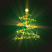 Backdrop Digital Art Prints - Christmas Tree Print by Atiketta Sangasaeng