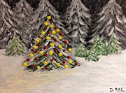Snowy Trees Paintings - Christmas Tree by Donna Perkins