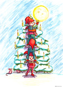 Christmas Eve Drawings Metal Prints - Christmas Tree Metal Print by Ghita Andersen