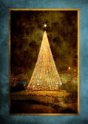 Cindy Singleton Prints - Christmas Tree in the City Print by Cindy Singleton