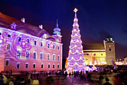 Christmas Holiday Scenery Art - Christmas Tree in Warsaw Old Town by Artur Bogacki