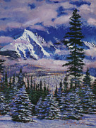 Fir Trees Painting Prints - Christmas Tree Land Print by David Lloyd Glover