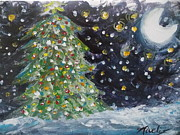 Silent Night Paintings - Christmas tree by Niceliz Howard