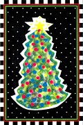 Greeting Cards Digital Art Originals - Christmas Tree Polkadots by Genevieve Esson