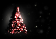 Sparkling Digital Art Prints - Christmas tree shining on black background Print by Michal Bednarek