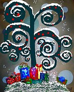 Manger Posters - Christmas Tree Swirls and Curls Poster by Eloise Schneider