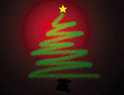 Holidays Digital Art Prints - Christmas Tree With Star Print by Genevieve Esson