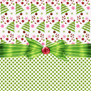 Ribbon Digital Art Prints - Christmas Trees  Print by Debra  Miller