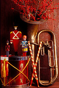 Drummer Metal Prints - Christmas Tuba Metal Print by Garry Gay
