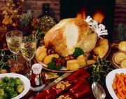 Indoor Still Life Photos - Christmas Turkey Dinner With Wine by The Irish Image Collection