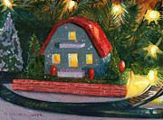 Train Tracks Painting Framed Prints - Christmas Village House I Framed Print by Marguerite Chadwick-Juner