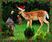 Christmas Wild Turkey And Fawn Print by Angel Cher