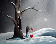 Red Heart Paintings - Christmas Wishes by Shawna Erback by Shawna Erback