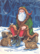 Father Christmas Paintings - Christmas Woodland Series by Barbel Amos