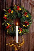 Musical Photos - Christmas wreath and angel with candle by Garry Gay