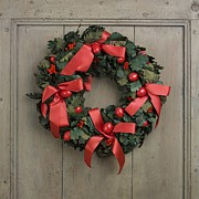 Wooden Door Prints - Christmas wreath Print by Bernard Jaubert