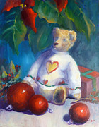 Bear Paintings - Christms Bear by Carolyn Jarvis
