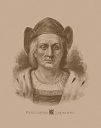 History Drawings Prints - Christopher Columbus Print by War Is Hell Store