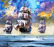 Sharks Painting Prints - Christopher Columbuss fleet  Print by English School