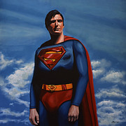 Work Of Art Paintings - Christopher Reeve as Superman by Paul  Meijering